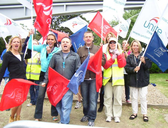 One of the three lively BA cabin crew picket lines at Heathrow Airport yesterday