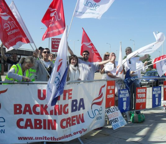BA cabin crew pickets at Heathrow yesterday determined to win their struggle