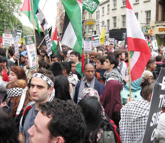 Demonstration outside the Israeli embassy in London last Monday against the Israeli army assault on the aid ships breaking the Gaza siege