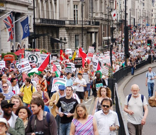 Section of the 25,000-stong demonstration on Saturday in support of the 'Freedom Flotilla' to break the Israeli seige of Gaza