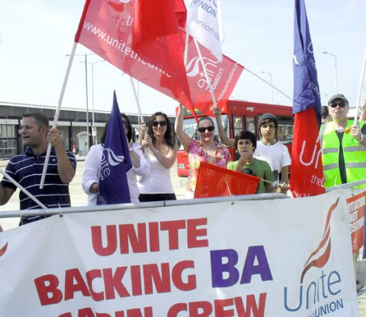 BA cabin crew on the picket line at Heathrow on Saturday morning
