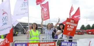 BA cabin crew pickets in high spirits at Heathrow yesterday morning