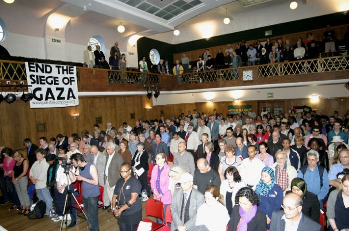 The audience at Wednesday night's Public Rally to hear eyewitness accounts of the Israeli army attack on the Gaza Freedom Flotilla