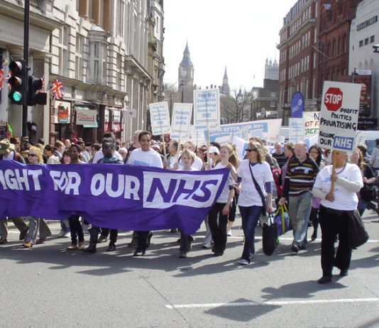 The 'Defend the Welfare State' march in London on April 11 with the central issue to the fore of stopping the privatisation of the NHS