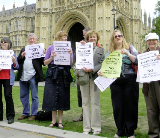 Anti-Academy campainers lobbying parliament last month