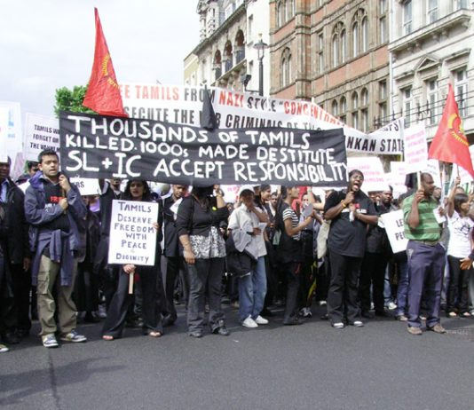 Demonstrartion in London in June last year after the Sri Lankan army war on the Tamil Tigers when 40,000 civilians were killed