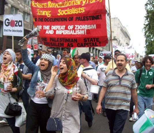 Marchers in London on Saturday June 5 demanding an end to the siege on Gaza