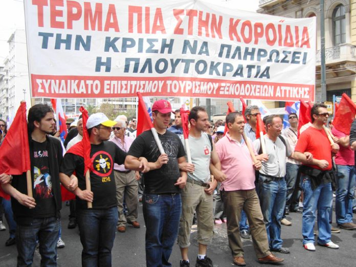 Greek workers during general strike action in Athens in May