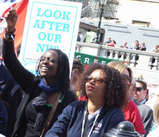 Defend the Welfare State rally in London in April demanding 'Look After Our NHS'