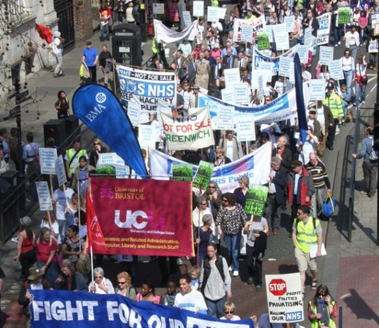 Marchers in London in April demanding an end to privatisation in the NHS
