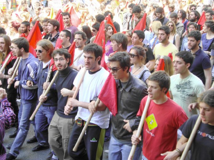 Athens University students marching on the May Day demonstration