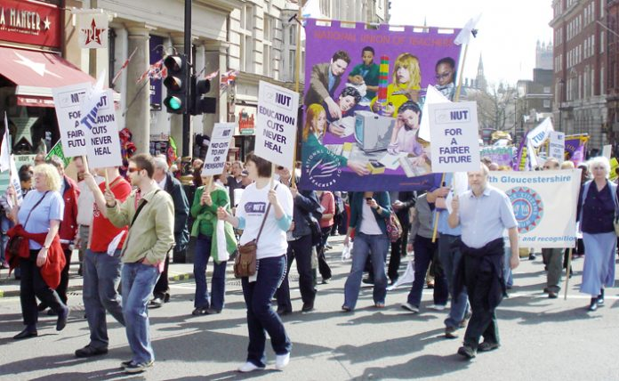 NUT members marching on the April 14 'Defend the Welfare State' demonstration in London