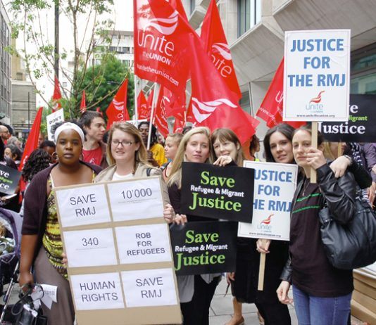 Unite members on Friday afternoon's lobby of the Ministry of Justice
