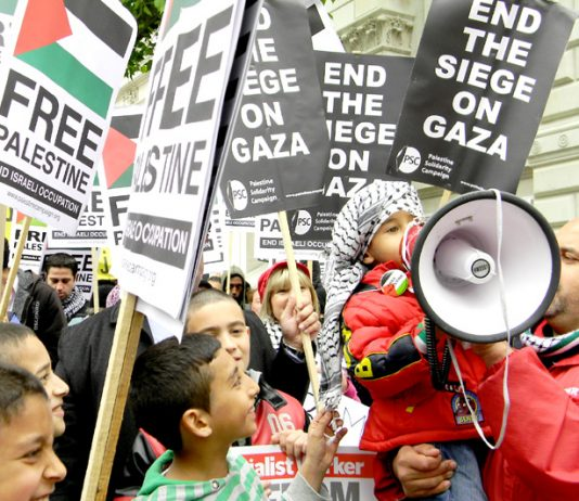 Demonstrators outside Downing Street on May 31 demand an end to the siege of Gaza