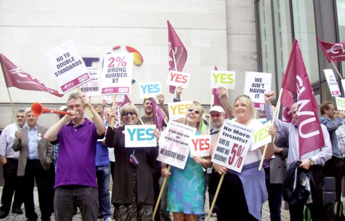 A section of Monday's lunchtime rally of CWU members outside the BT Centre to demand the company pay up their 5% pay claim