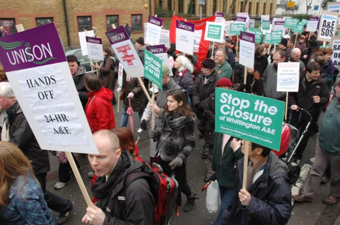 Demonstration last February against the closure of the Whittington Hospital in North London