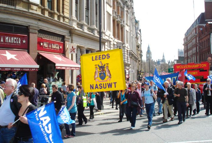 NASUWT banner on the April 11 'Defend the Welfare State' demonstration in London