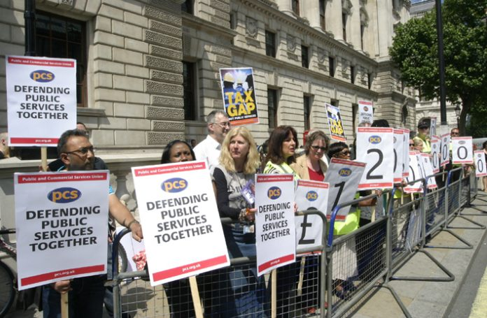 Members of the PCS union picketing the Treasury on Budget Day