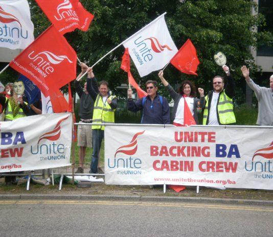 Striking BA cabin crew on the picket line during their latest strike action in May