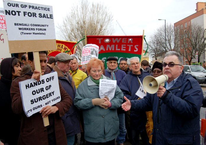 Protest in Tower Hamlets against the privatisation of GP surgeries in the borough