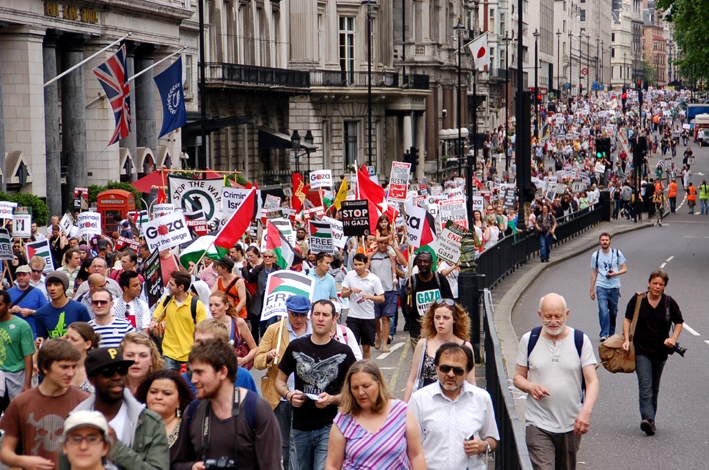A section of the 10,000-strong march in London on June 5th against the Israeli attack on the Freedom Flotilla