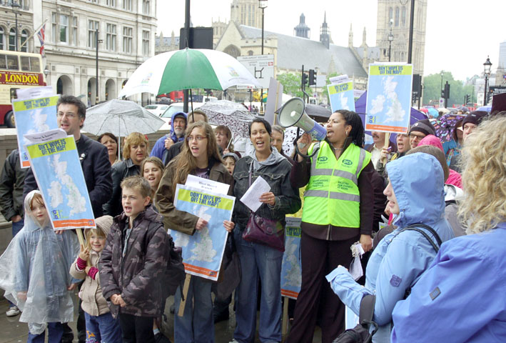PCS members lobby in central London on June 1 in defence of jobs
