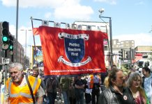 NASUWT members marching in London – the union has condemned the latest attack on teachers