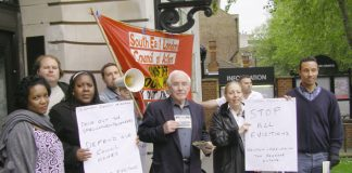 Tenants picket Southwark Town Hall with the South-East London Council of Action in May against the demolition plans and demanding refurbishment and reopening of sealed-up homes on Heygate and Aylesbury