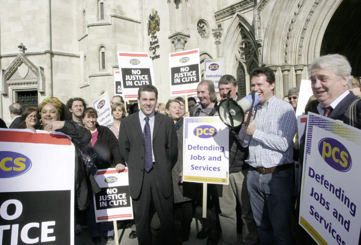 PCS General Secretary SERWOTKA with members demonstrating outside the Law Courts against Labour's attempt to destroy their redundancy agreement