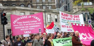 UCU members march to defend jobs on May 5th