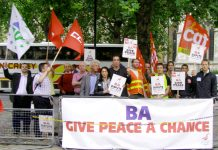 Airline workers from France and Spain are supporting the BA cabin crew while Unite leaders are pleading for peace