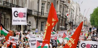 Section of the 10,000-strong demonstration on June 5th in London against the Israeli army attack on the 'Gaza Freedom Flotilla'