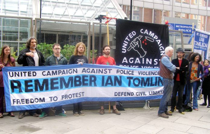 A strong and angry picket of New Scotland Yard yesterday after the CPS refused to prosecute the policeman responsible for the deadly assault on Ian Tomlinson at G20 protest last year