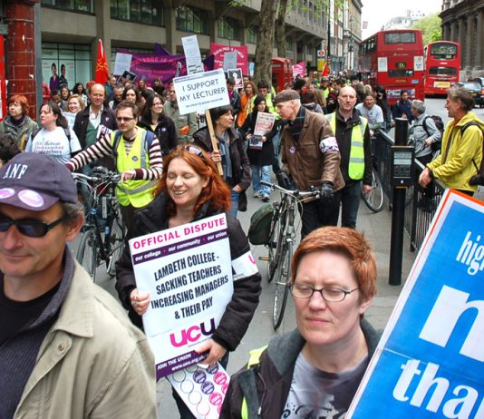London lecturers marching against savage cuts in jobs and attacks on their terms and conditions in May this year