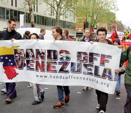 Marching in London in support of Venezuela