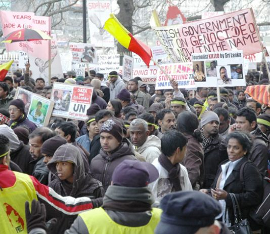 Demonstrators in London in January 2009 condemn the British government for its support for the Rajapakse regime