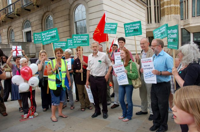 A section of yesterday's picket of the Department of health demanding that the Whittington hospital be kept open