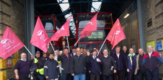 Unite members on strike over pay at the Bow garage of East London Bus group last November