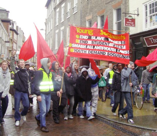 Young Socialist marchers in Cambridge last year demanding jobs and a future