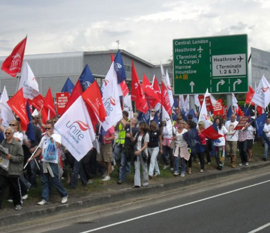 Striking BA cabin crew marching defiantly through Heathrow – are demanding that Unite names the dates for more strike actions to win their dispute