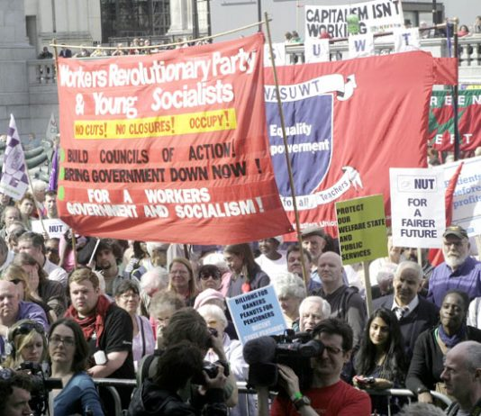 The Workers Revolutionary Party and Young Socialists banner on the recent 'Defend the Welfare State' march