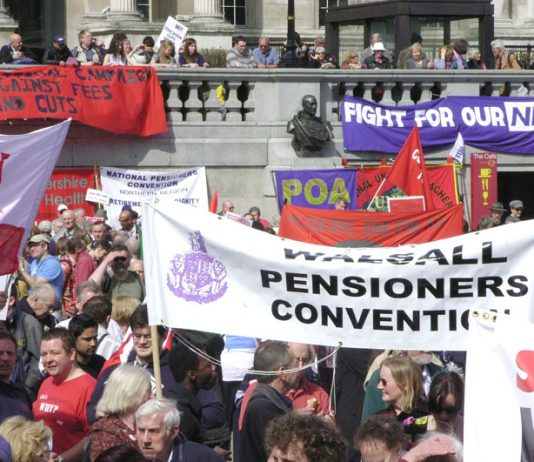 Pensioners at the rally in Trafalgar Square after last April's 'Defend the Welfare State' march