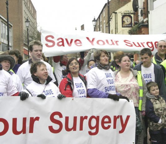 GPs demonstrating in Rugby against the privatisation of surgeries