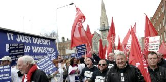 Waterford Crystal workers marching in Dublin in February last year demanding that the government act to defend jobs