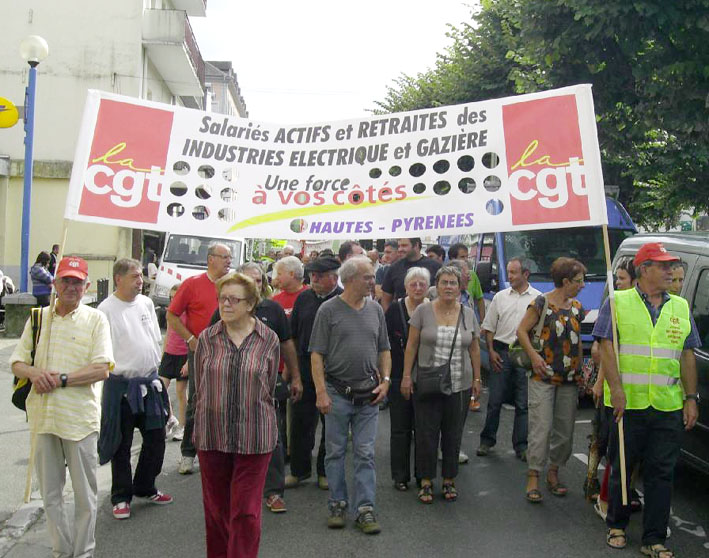 CGT members marching in defence of jobs. French unions have called for a massive turnout next Tuesday in defence of pensions