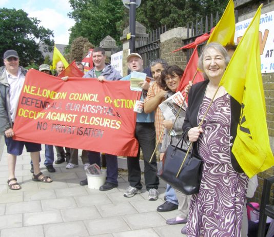 A section of yesterday's North East London Council of Action picket determined to keep Chase Farm Hospital open