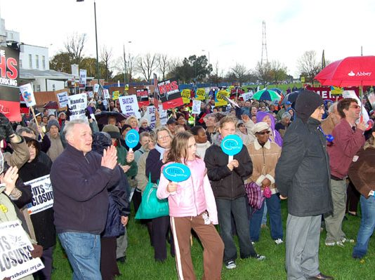 Section of a mass rally in front of St Helier Hospital determined to fight any NHS cuts