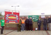 Waltham Forest UNISON members brought their banner to show their support for strikers in Leytonstone yesterday