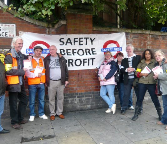 Confident pickets at Finsbury Park station