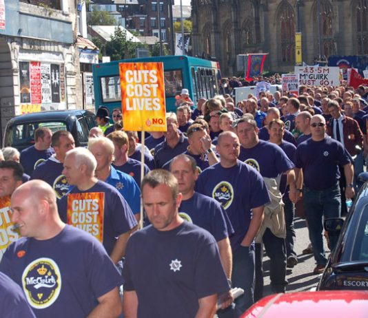 Firefighters marching in Liverpool in September 2006 against cuts imposed by chief fire officer McGuirk